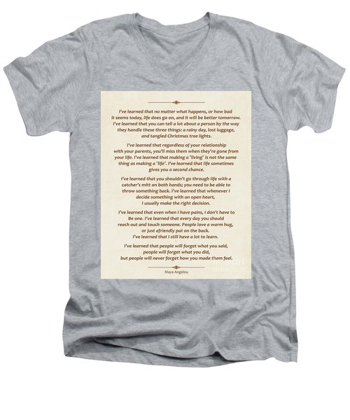 101-  Maya Angelou Men's V-Neck T-Shirt
