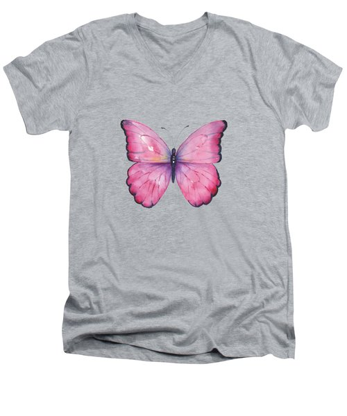 105 Pink Celestina Butterfly Men's V-Neck T-Shirt