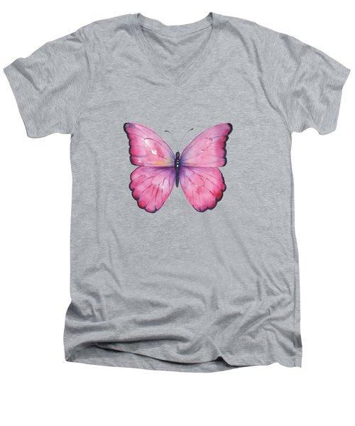 105 Pink Celestina Butterfly Men's V-Neck T-Shirt