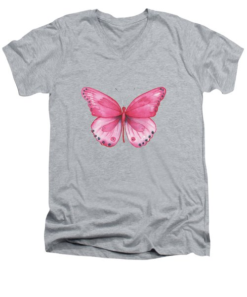 107 Pink Genus Butterfly Men's V-Neck T-Shirt