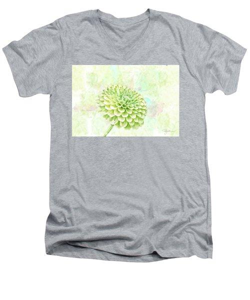 10891 Green Chrysanthemum Men's V-Neck T-Shirt