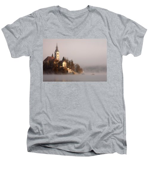 Misty Lake Bled Men's V-Neck T-Shirt
