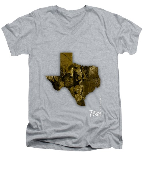Texas State Map Collection Men's V-Neck T-Shirt by Marvin Blaine