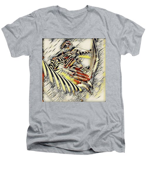 1177s-ak Abstract Nude Her Fingers On Pubis Erotica In The Style Of Kandinsky Men's V-Neck T-Shirt