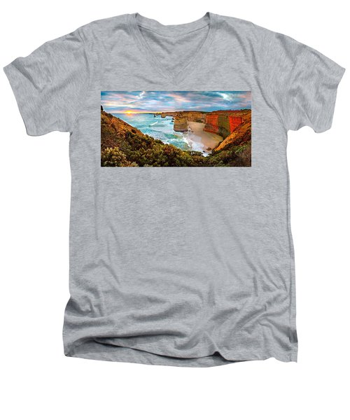 12 Apostle Sunset Men's V-Neck T-Shirt by Az Jackson