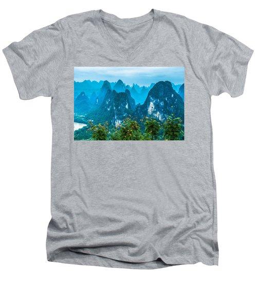 Karst Mountains Landscape Men's V-Neck T-Shirt