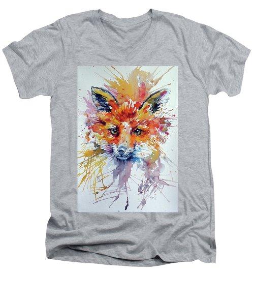 Red Fox Men's V-Neck T-Shirt by Kovacs Anna Brigitta