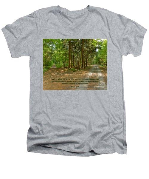 12- The Road Not Taken Men's V-Neck T-Shirt by Joseph Keane