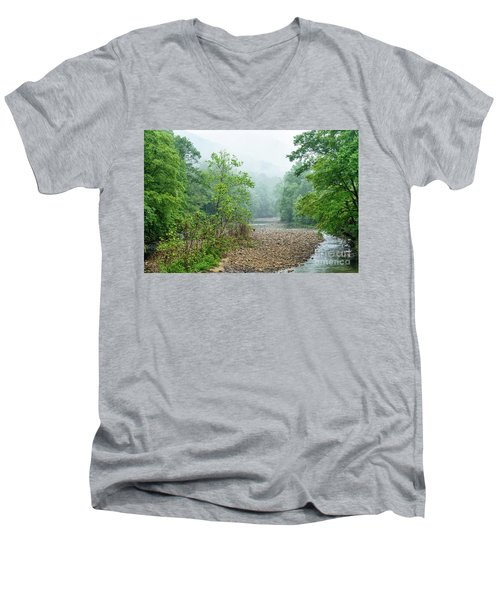 Men's V-Neck T-Shirt featuring the photograph Williams River Summer Mist by Thomas R Fletcher