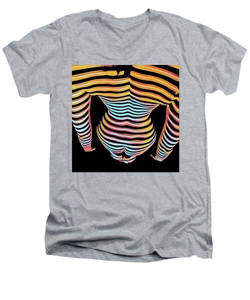 1262s-mak Woman's Strong Shoulders Back Hips Rendered In Composition Style Men's V-Neck T-Shirt