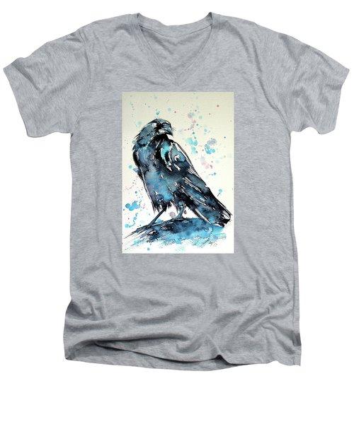 Crow Men's V-Neck T-Shirt by Kovacs Anna Brigitta