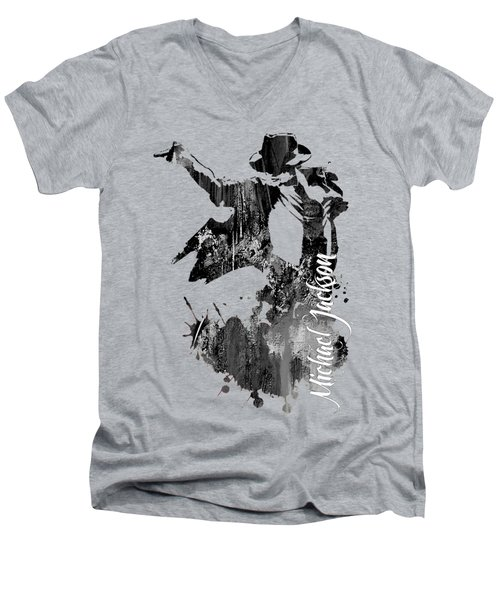 Michael Jackson Collection Men's V-Neck T-Shirt by Marvin Blaine