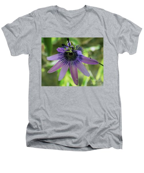 Purple Passiflora Men's V-Neck T-Shirt by Elvira Ladocki