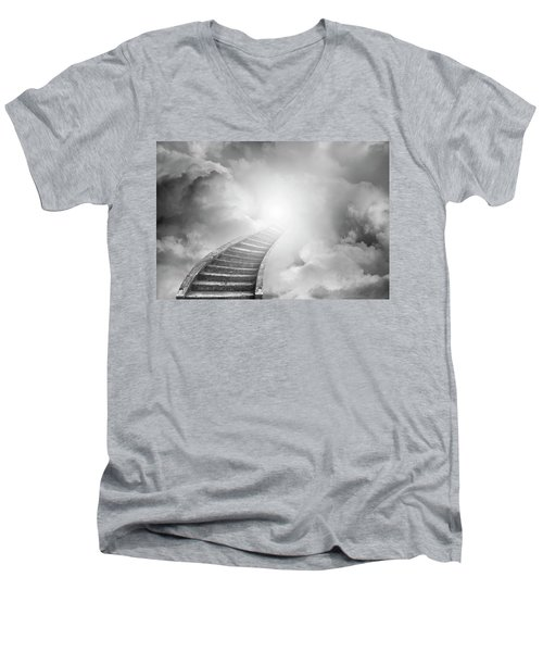 Men's V-Neck T-Shirt featuring the photograph Stairway To Heaven by Les Cunliffe