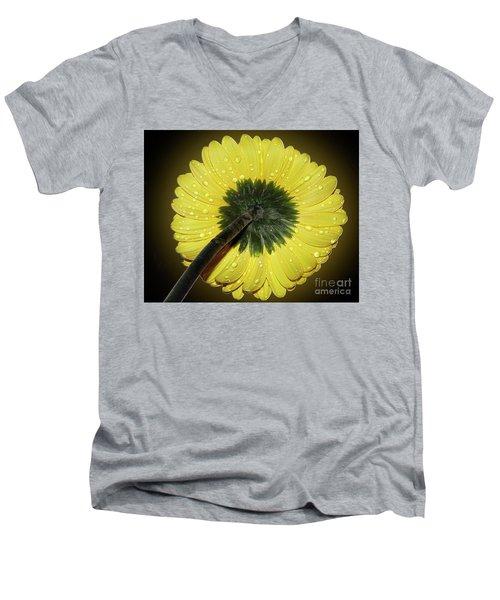 Men's V-Neck T-Shirt featuring the photograph Yellow Gerber by Elvira Ladocki
