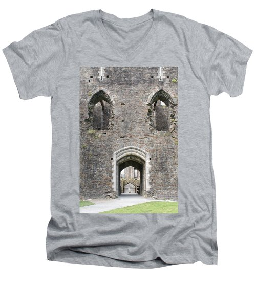 Caerphilly Castle Men's V-Neck T-Shirt