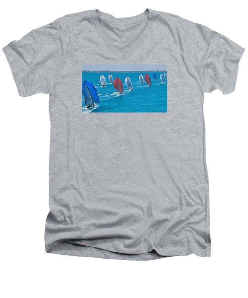 Miami Skyline Regatta Men's V-Neck T-Shirt by Steven Lapkin