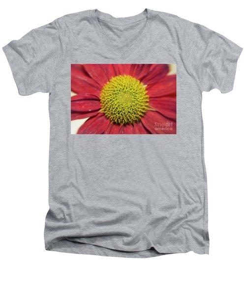 Red Flower Men's V-Neck T-Shirt by Elvira Ladocki