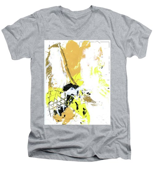 Men's V-Neck T-Shirt featuring the painting Three Color Palette by Michal Mitak Mahgerefteh