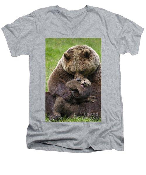 Mother Bear Cuddling Cub Men's V-Neck T-Shirt