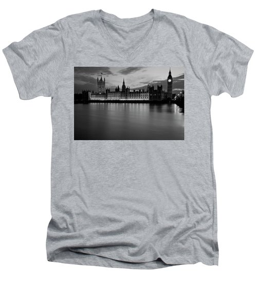 Big Ben And The Houses Of Parliament Men's V-Neck T-Shirt by David French