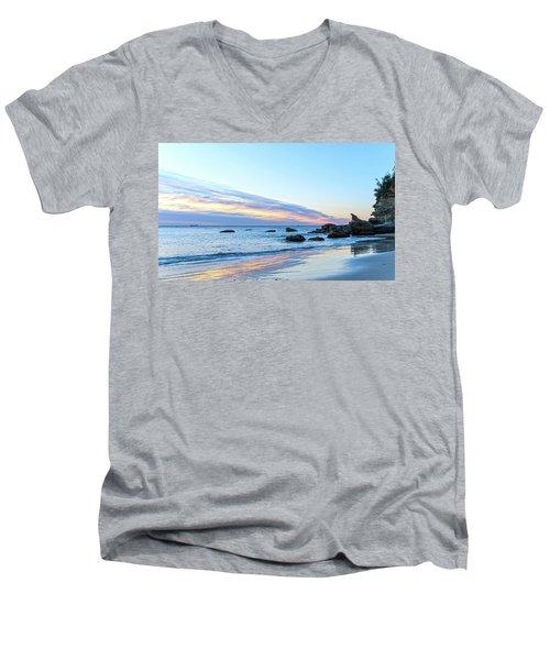 Rocky Daybreak Seascape Men's V-Neck T-Shirt
