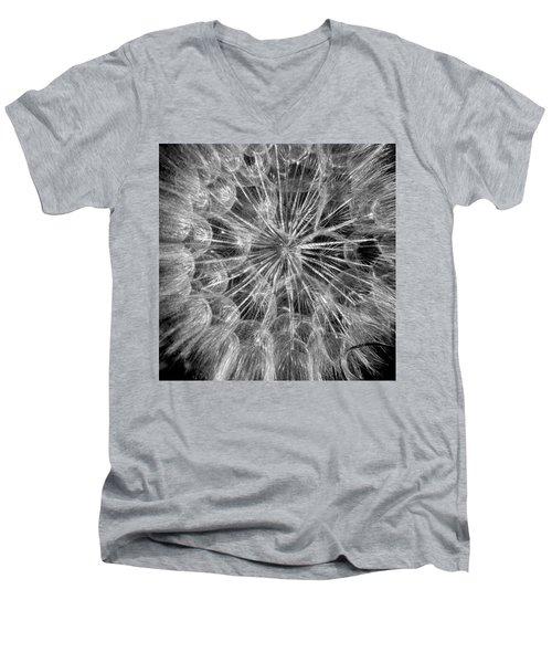 Black And White Flower  Men's V-Neck T-Shirt