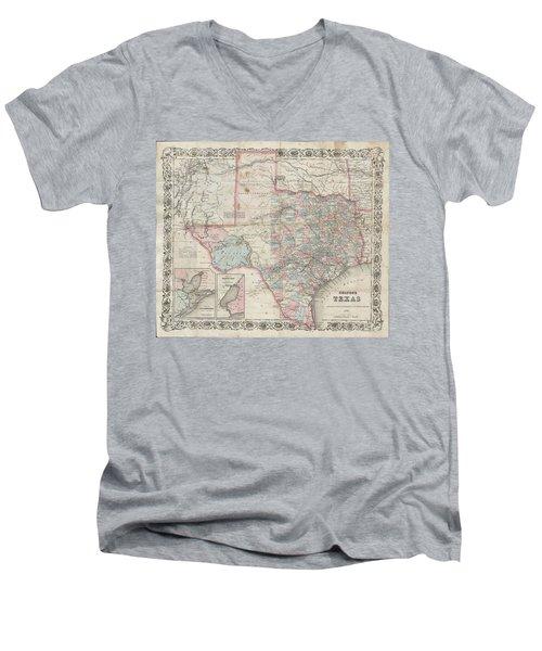 1870 Colton Pocket Map Of Texas Men's V-Neck T-Shirt