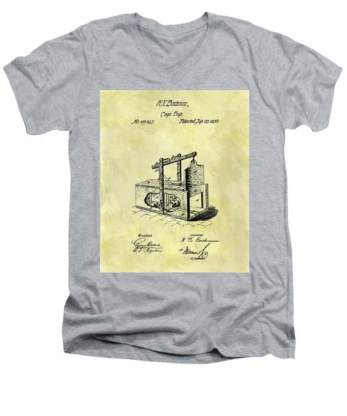 Men's V-Neck T-Shirt featuring the mixed media 1870 Mousetrap Patent by Dan Sproul