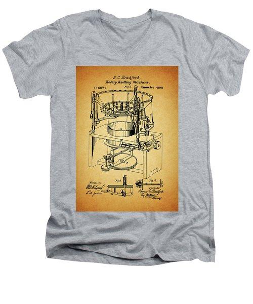 1871 Rotary Knitting Machine Men's V-Neck T-Shirt by Dan Sproul