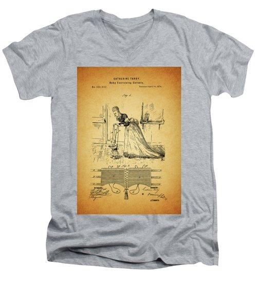 1874 Baby Exercising Corset Men's V-Neck T-Shirt by Dan Sproul
