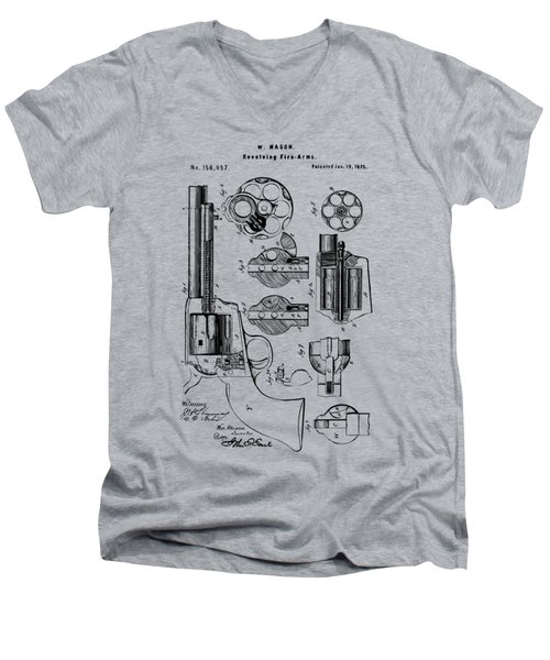 1875 Colt Peacemaker Revolver Patent Vintage Men's V-Neck T-Shirt by Nikki Marie Smith