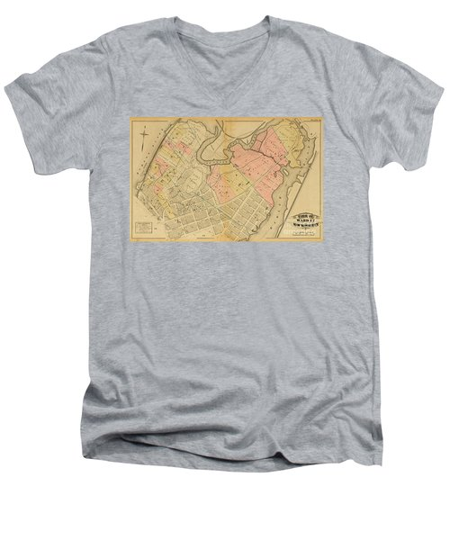 1879 Inwood Map  Men's V-Neck T-Shirt by Cole Thompson