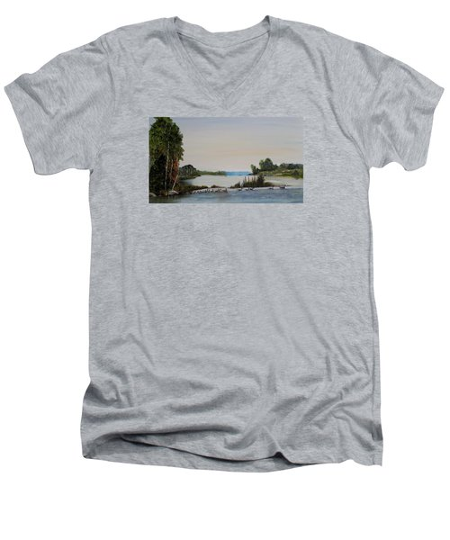 Men's V-Neck T-Shirt featuring the painting 19 Geese by Marilyn  McNish