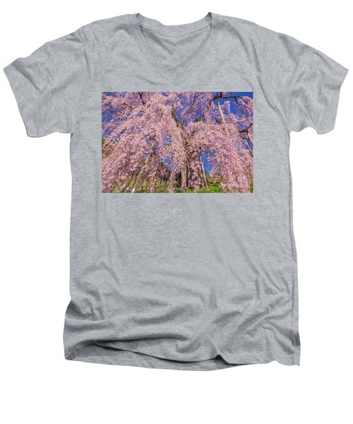 Men's V-Neck T-Shirt featuring the photograph Miharu Takizakura Weeping Cherry20 by Tatsuya Atarashi