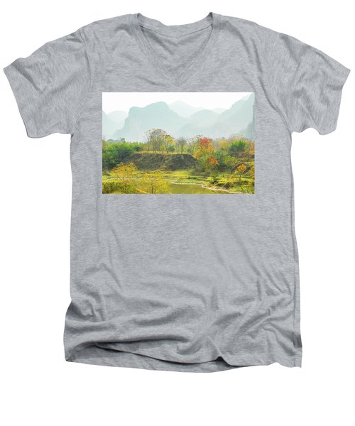 The Colorful Autumn Scenery Men's V-Neck T-Shirt