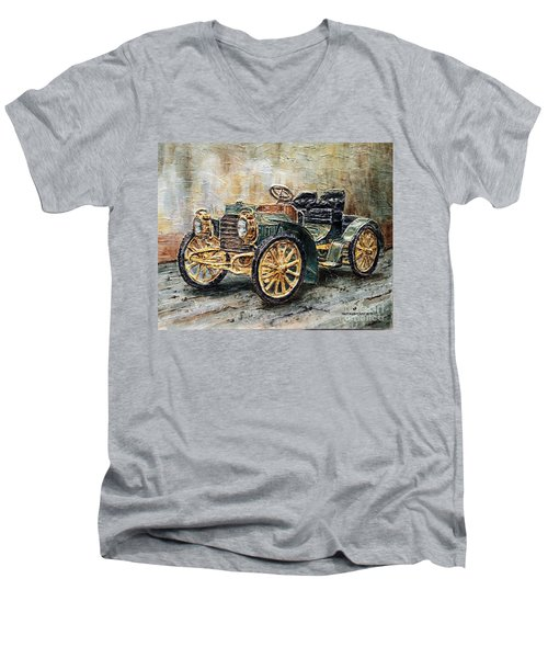 Men's V-Neck T-Shirt featuring the painting 1901 Mercedes Benz by Joey Agbayani