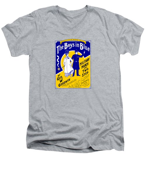 Men's V-Neck T-Shirt featuring the painting 1901 The Boys In Blue, The Boston Police by Historic Image