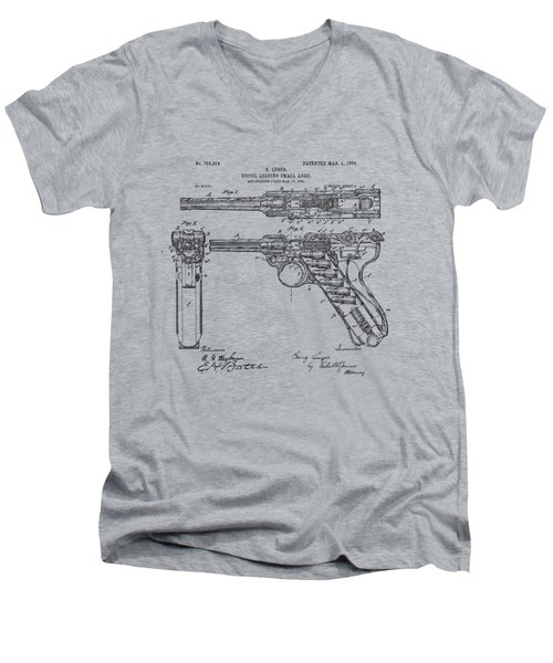 Men's V-Neck T-Shirt featuring the drawing 1904 Luger Recoil Loading Small Arms Patent - Vintage by Nikki Marie Smith