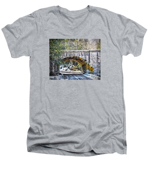 1909 Country Backroad Train Overpass Men's V-Neck T-Shirt by Rena Trepanier