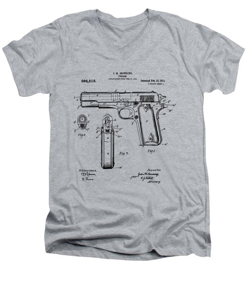 1911 Colt 45 Browning Firearm Patent Artwork Vintage Men's V-Neck T-Shirt by Nikki Marie Smith