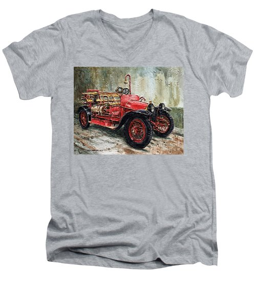 1912 Porsche Fire Truck Men's V-Neck T-Shirt by Joey Agbayani