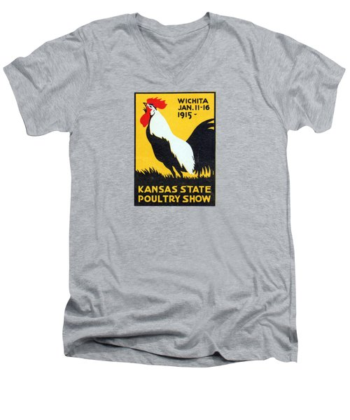 Men's V-Neck T-Shirt featuring the painting 1915 Kansas Poultry Fair by Historic Image