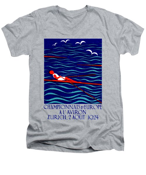 1924 Zurich Rowing Poster Men's V-Neck T-Shirt