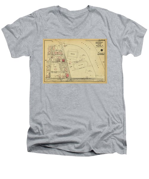 Men's V-Neck T-Shirt featuring the photograph 1927 Baker Field Map  by Cole Thompson