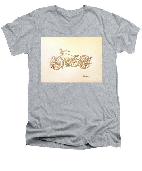 1928 Harley Davidson Motorcycle Graphite Pencil - Sepia Men's V-Neck T-Shirt by Scott D Van Osdol