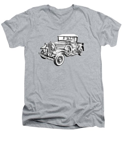 1930 Ford Model A Pickup Truck Illustration Men's V-Neck T-Shirt by Keith Webber Jr