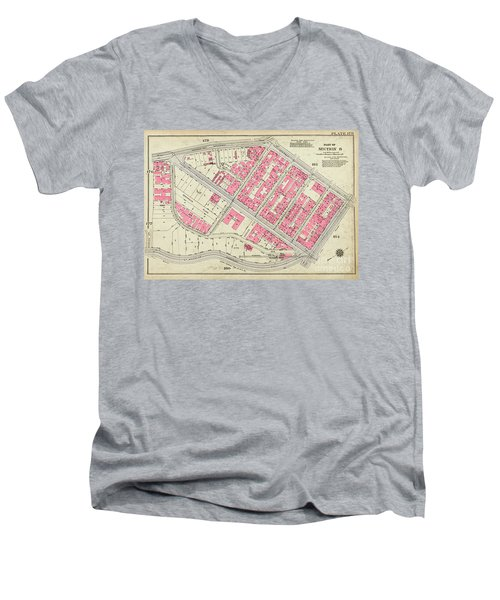 1930 Inwood Map  Men's V-Neck T-Shirt by Cole Thompson