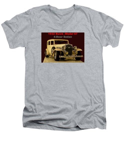 Men's V-Neck T-Shirt featuring the photograph 1932 Buick 4door Sedan by B Wayne Mullins