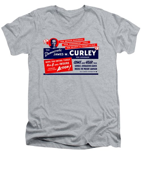 1934 James Michael Curley Men's V-Neck T-Shirt by Historic Image